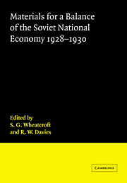 Materials for a Balance of the Soviet National Economy, 1928–1930