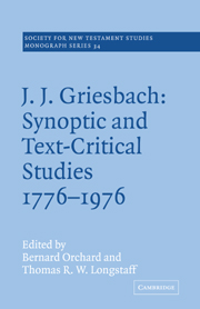 J. J. Griesbach: Synoptic and Text - Critical Studies 1776–1976