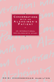Conversations with an Alzheimer's Patient