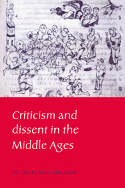 Criticism and Dissent in the Middle Ages