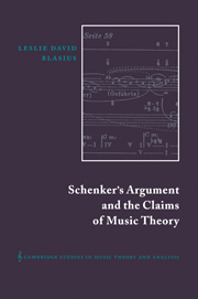 Schenker's Argument and the Claims of Music Theory
