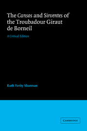The Cansos and Sirventes of the Troubadour, Giraut de Borneil
