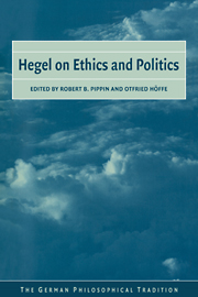 Hegel on Ethics and Politics