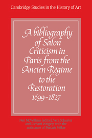 A Bibliography of Salon Criticism in Paris from the Ancien Régime to the Restoration, 1699–1827