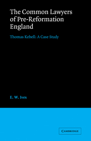 The Common Lawyers of Pre-Reformation England