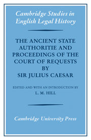 The Ancient State Authoritie and Proceedings of the Court of Requests by Sir Julius Caesar