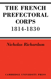 The French Prefectorial Corps 1814–1830