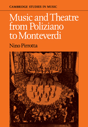 Music and Theatre from Poliziano to Montiverdi