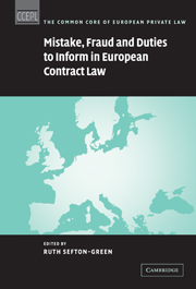 Mistake, Fraud and Duties to Inform in European Contract Law