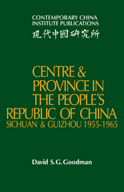 Centre and Province in the People's Republic of China