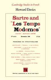sartre and les temps modernes european literature cambridge press
