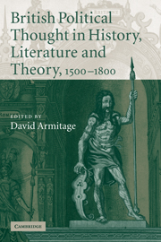 British Political Thought in History, Literature and Theory, 1500–1800