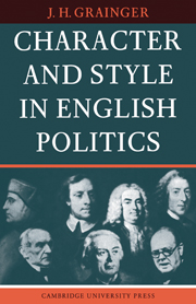 Character and Style in English Politics