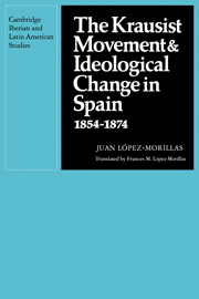 The Krausist Movement and Ideological Change in Spain, 1854–1874