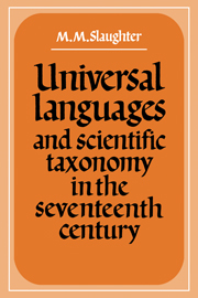 Universal Languages and Scientific Taxonomy in the Seventeenth Century