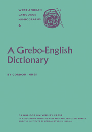 A Grebo–English Dictionary