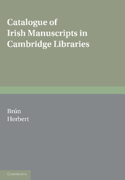 Catalogue of Irish Manuscripts in Cambridge Libraries