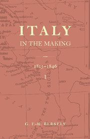 Italy in the Making 1815 to 1846