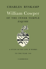 William Cowper of the Inner Temple, Esq.