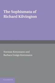 The Sophismata of Richard Kilvington