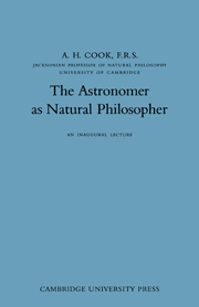 The Astronomer as Natural Philosopher