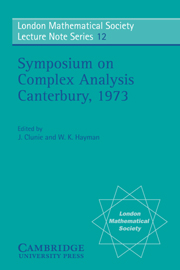 Proceedings of the Symposium on Complex Analysis Canterbury 1973