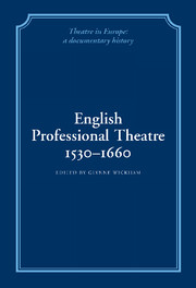 English Professional Theatre, 1530–1660