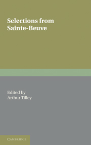 Selections from Sainte-Beuve