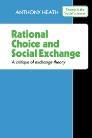 Rational Choice and Social Exchange