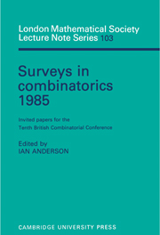 Surveys in Combinatorics 1985