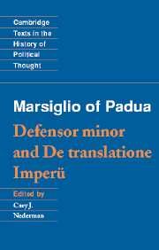 Marsiglio of Padua: 'Defensor minor' and 'De translatione imperii'