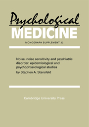 Noise, Noise Sensitivity and Psychiatric Disorder