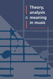 Theory, Analysis and Meaning in Music