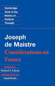 Maistre: Considerations on France