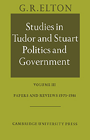 Studies in Tudor and Stuart Politics and Government
