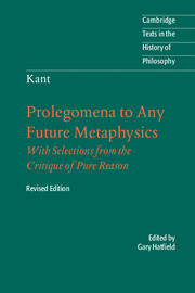 Immanuel Kant: Prolegomena to Any Future Metaphysics
