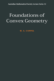 Foundations of Convex Geometry