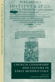 Church, Censorship and Culture in Early Modern Italy