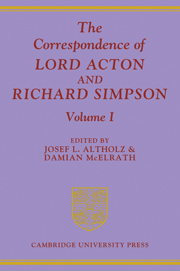 The Correspondence of Lord Acton Richard Simpson