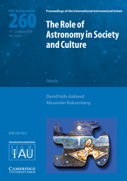 The Role of Astronomy in Society and Culture (IAU S260)