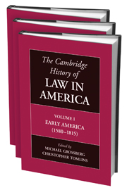 The Cambridge History of Law in America 3 Volume Hardback Set