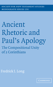 Ancient Rhetoric and Paul's Apology