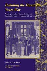 Debating the Hundred Years War