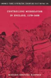 Controlling Misbehavior in England, 1370–1600