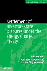Settlement of Investment Disputes under the Energy Charter Treaty