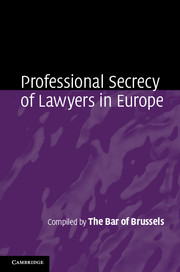 Professional Secrecy of Lawyers in Europe