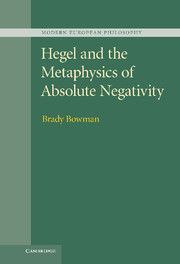 Hegel and the Metaphysics of Absolute Negativity