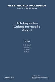 High-Temperature Ordered Intermetallic Alloys II