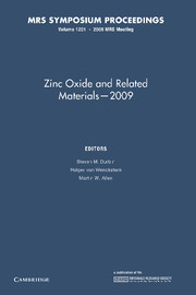 Zinc Oxide and Related Materials — 2009