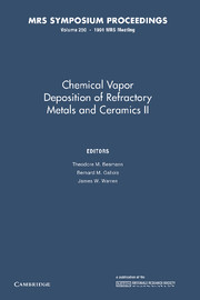 Chemical Vapor Deposition of Refractory Metals and Ceramics II